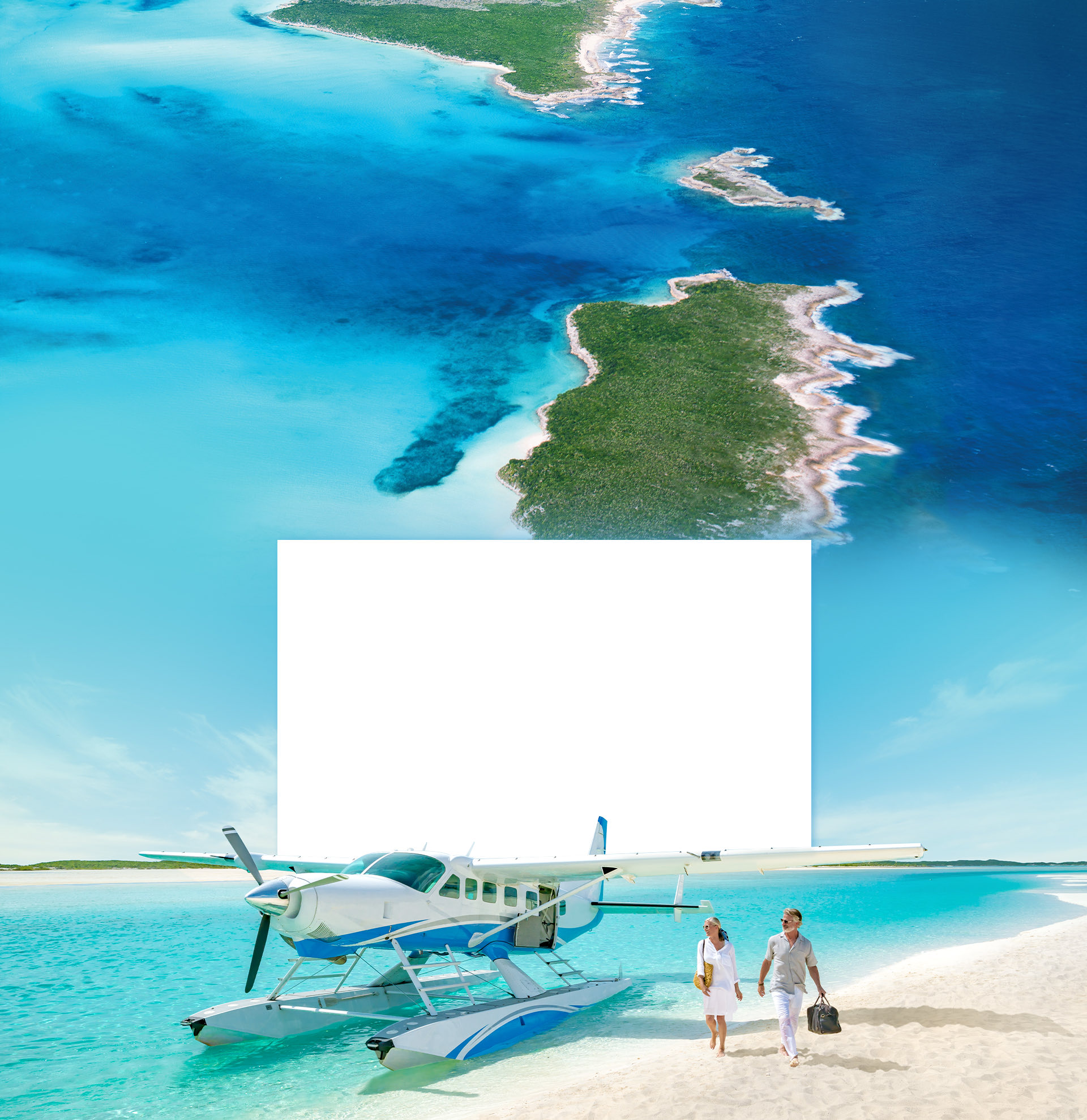 Bahamas lanscape with a couple leaving an airplane