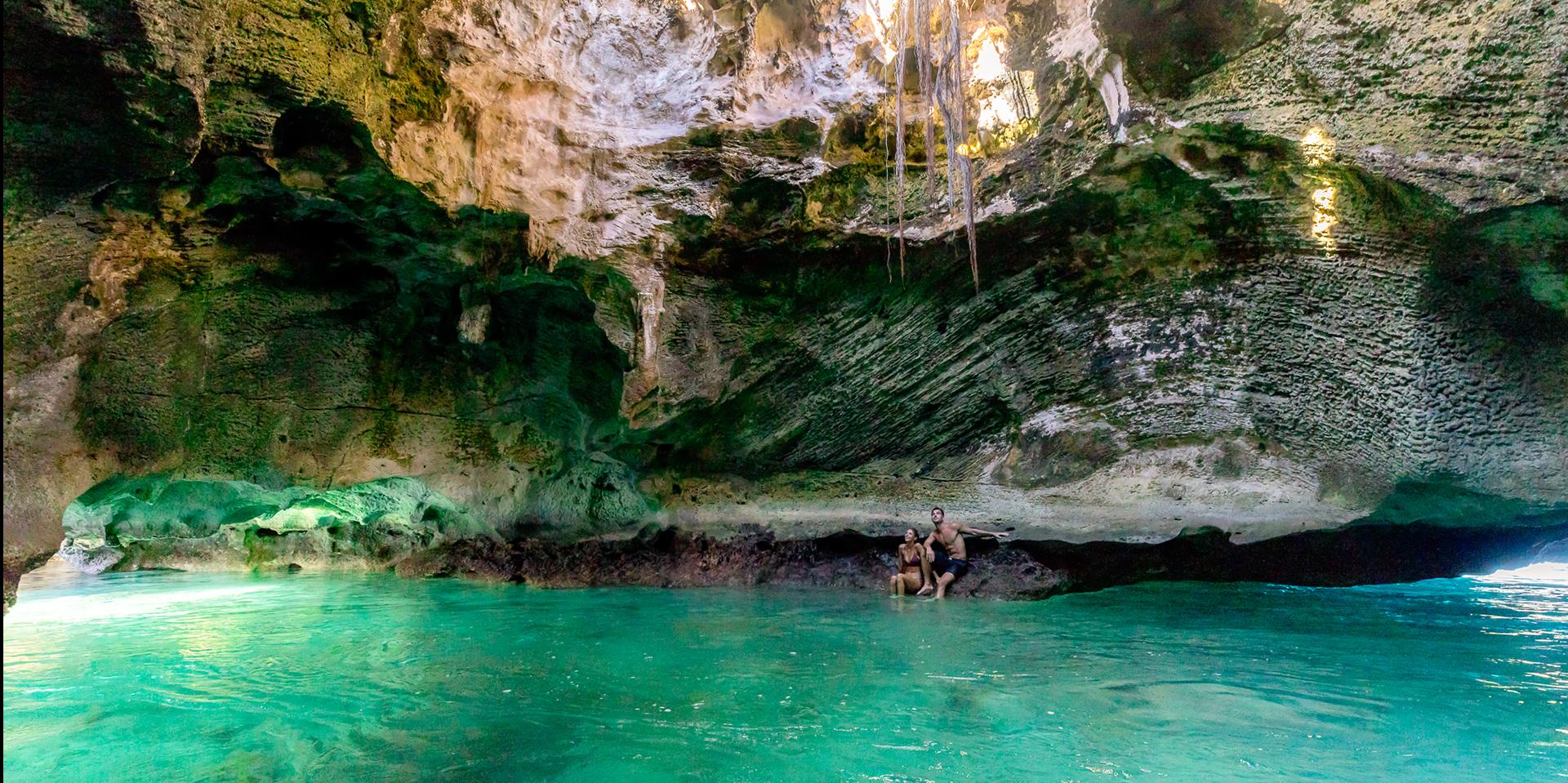 couple inside a beautiful cave